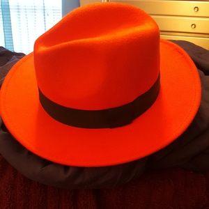 Bright Red Fedora Hat